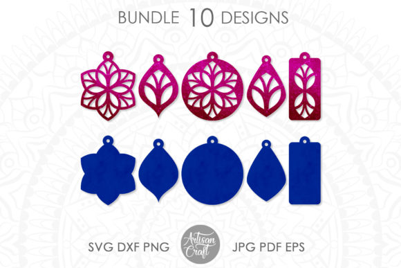 Print on Demand: Floral Earrings, Earring Template Graphic 3D SVG By Artisan Craft SVG