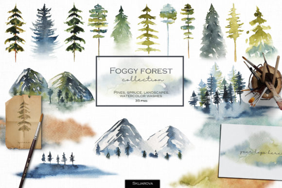 Foggy Forest. Trees & Landscapes. Graphic Illustrations By HappyWatercolorShop