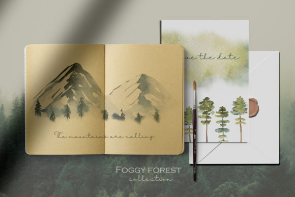 Foggy Forest. Trees & Landscapes. Graphic Preview