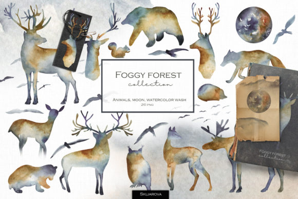 Foggy Forest. Watercolor Animals. Graphic Illustrations By HappyWatercolorShop