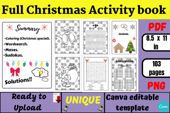 Full Christmas Activity Book (KDP) Graphic KDP Interiors By Wiss_Tips designs