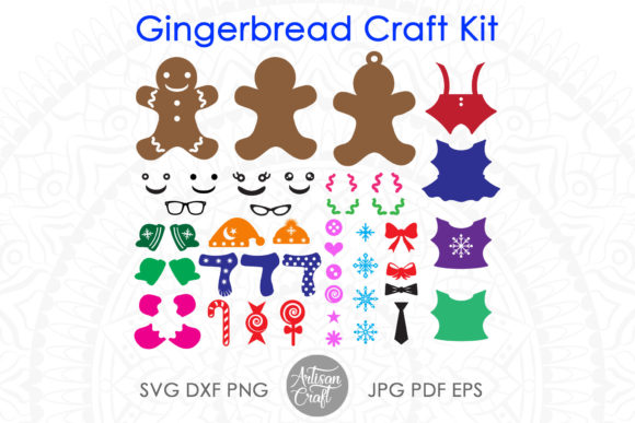 Print on Demand: Gingerbread Cookie Craft Kit Cut Files Graphic 3D SVG By Artisan Craft SVG