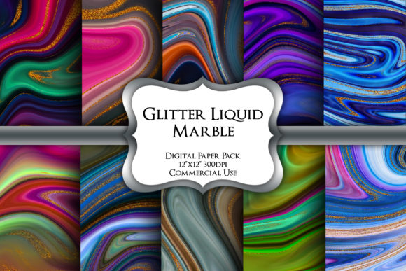 Print on Demand: Glitter Liquid Marble Digital Paper Pack Graphic Backgrounds By Party Pixelz