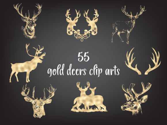 Gold Deer Silhouette Clipart, Christmas Graphic Objects By Aneta Design