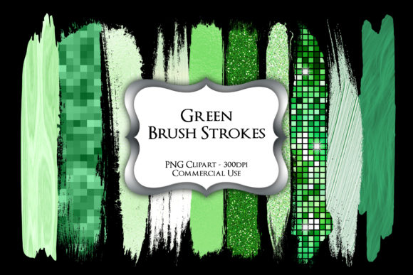 Print on Demand: Green Brush Strokes PNG Clipart Graphic Illustrations By Party Pixelz