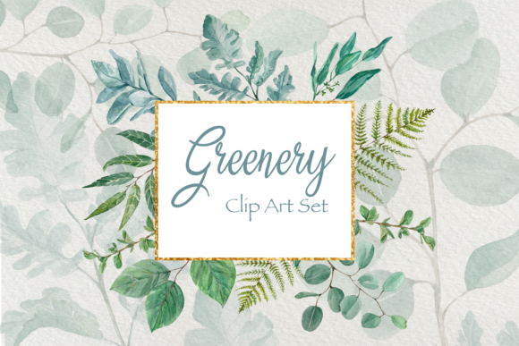 Greenery - Watercolor Clip Art Set Grafik Illustrationen von tatibordiu