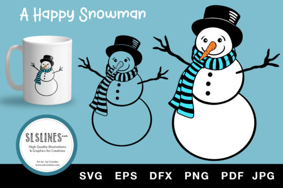 Happy Christmas Snowman SVG EPS PNG Graphic Illustrations By SLS Lines
