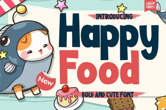Print on Demand: Happy Food Display Font By letterenastudios