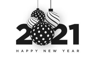 Print on Demand: Happy New Year 2021 Black & White Design Graphic Graphic Templates By Dzyneestudio