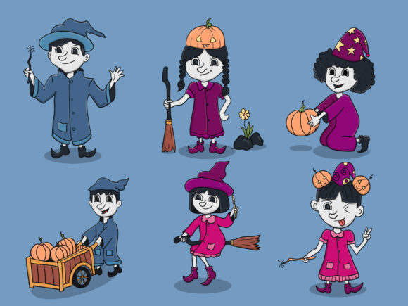 Kids Witch Character Graphic Illustrations By javatypestd