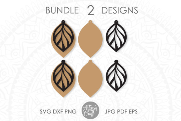 Print on Demand: Leather Earring Template Graphic 3D SVG By Artisan Craft SVG