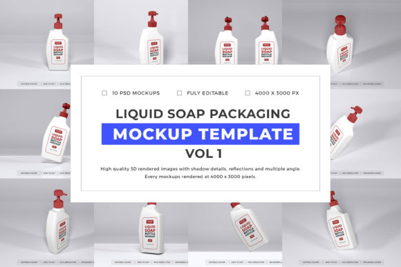 Print on Demand: Liquid Soap Mockup Bundle Vol 1 Graphic Product Mockups By dendysign