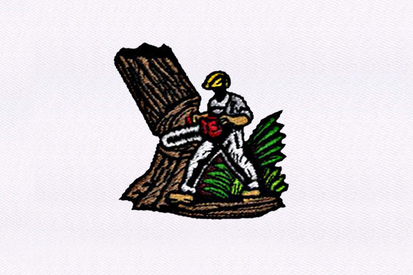 Lumberjack Cutting Down a Tree Work & Occupation Embroidery Design By DigitEMB