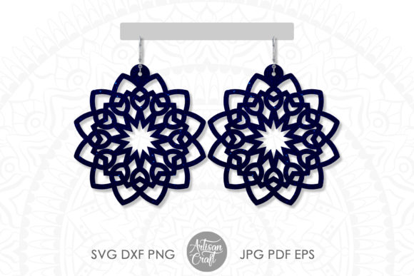Print on Demand: Mandala Earrings Template Graphic 3D SVG By Artisan Craft SVG