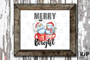 Print on Demand: Merry and Bright Sublimation Snowmen Graphic Illustrations By KtwoP