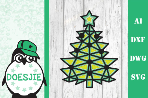 Multi Layer Christmas Tree Polygonal Graphic 3D SVG By doesjie