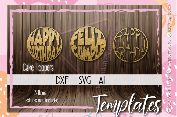 Print on Demand: Pack of 3 Cake Toppers Graphic Print Templates By Marcel de Cisneros