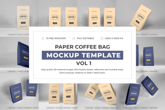 Print on Demand: Paper Coffee Bag Mockup Bundle Vol 1 Graphic Product Mockups By dendysign