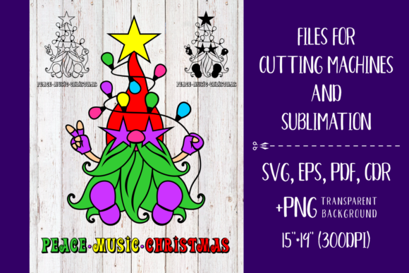 Print on Demand: Peace Music Christmas - Nordic Gnome SVG Graphic Crafts By Olga Belova