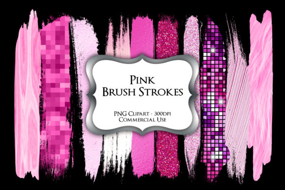 Print on Demand: Pink Brush Strokes PNG Clipart Graphic Illustrations By Party Pixelz