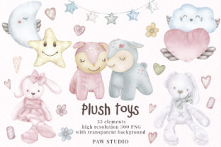 Print on Demand: Plush Toys Animals Holiday Clipart Gráfico Ilustraciones Por PawStudio