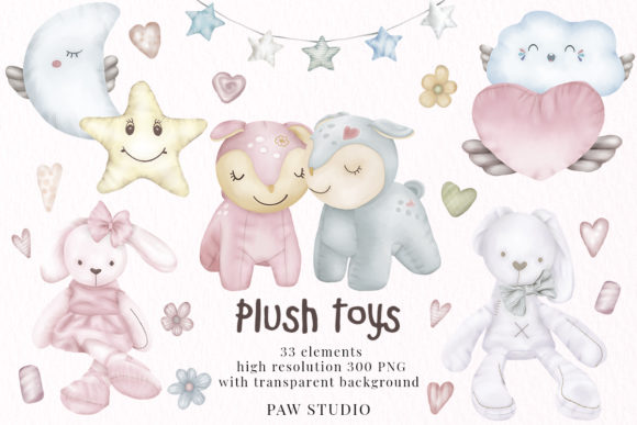 Print on Demand: Plush Toys Animals Holiday Clipart Graphic Illustrations By PawStudio