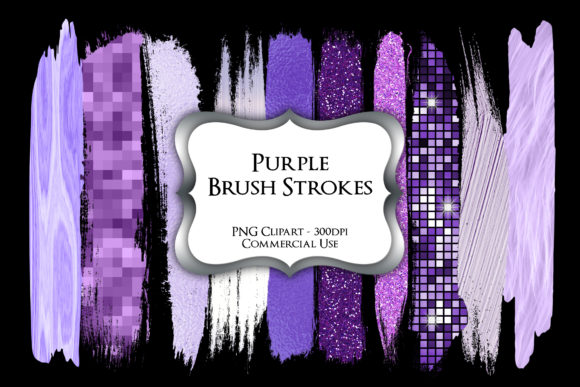 Print on Demand: Purple Brush Strokes PNG Clipart Graphic Illustrations By Party Pixelz