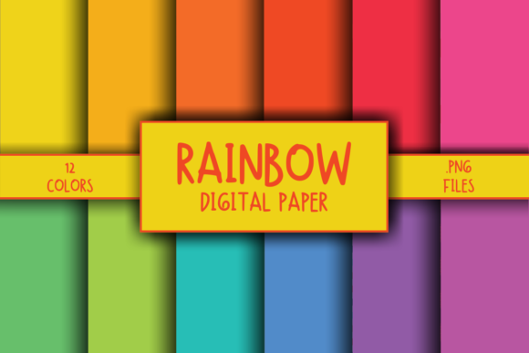 Print on Demand: Rainbow Background Digital Paper Graphic Backgrounds By atlasart