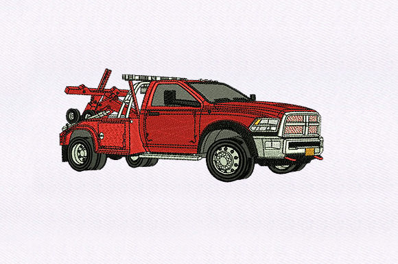 Red Pickup Truck Transportation Embroidery Design By DigitEMB