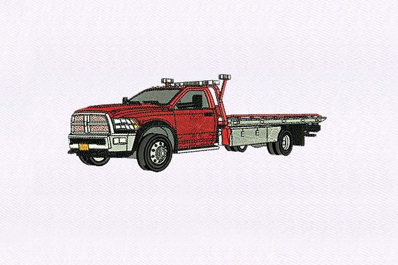 Red Tow Truck Transportation Embroidery Design By DigitEMB