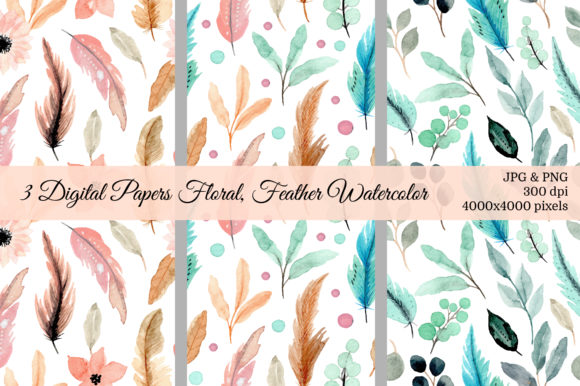 Print on Demand: Seamless Pattern Floral Watercolor 22 Grafik Muster von asrulaqroni
