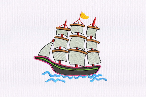 Ship Applique Beach & Nautical Embroidery Design By DigitEMB