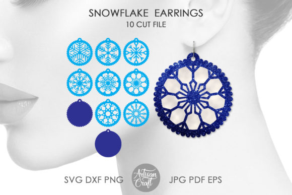 Print on Demand: Snowflake Earrings SVG, Cut Files Graphic 3D Christmas By Artisan Craft SVG