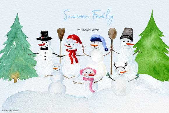 Snowman Family. Winter Clipart. Snowman Graphic Illustrations By LABFcreations