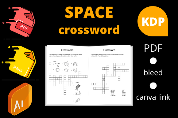 Print on Demand: Space Crossword for Kids | KDP Interior Graphic KDP Interiors By Dunkyshot