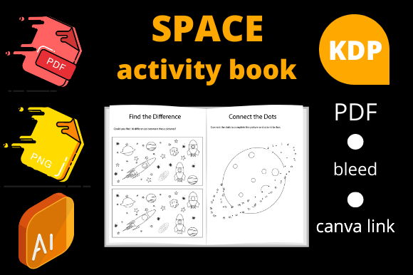 Print on Demand: Space Games Activity Book | KDP Interior Graphic KDP Interiors By Dunkyshot