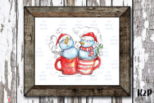 Print on Demand: Sublimation Christmas Snowmen Hot Drink Graphic Illustrations By KtwoP