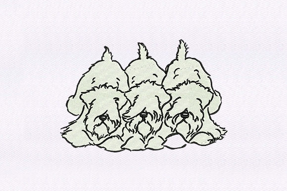 Triplets Shaggy Dogs Dogs Embroidery Design By DigitEMB