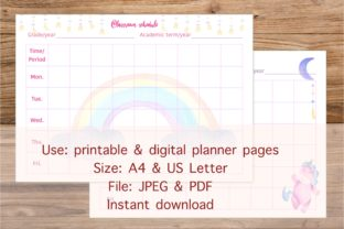 Unicorn Classroom Schedule Table Graphic Print Templates By Toei Design
