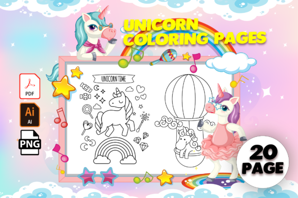 Print on Demand: Unicorn Coloring Pages - KDP Interior Grafik Ausmalseiten & Malbücher für Kinder von MK DESIGN