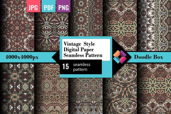Vintage Style Digital Paper Seamless Set Graphic Patterns By DoodleBox