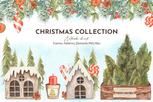 Watercolor Christmas Collection Graphic