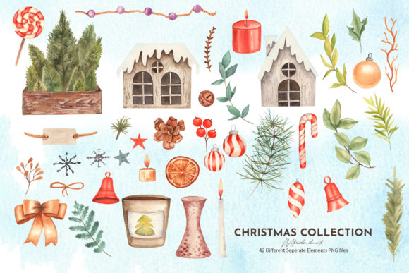 Watercolor Christmas Collection Graphic Image