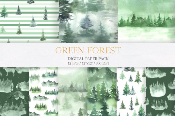 Watercolor Green Fores Digital Papers Graphic Patterns By Larysa Zabrotskaya