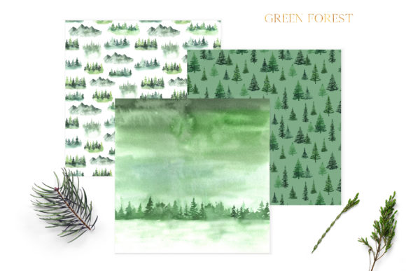 Watercolor Green Fores Digital Papers Graphic Download