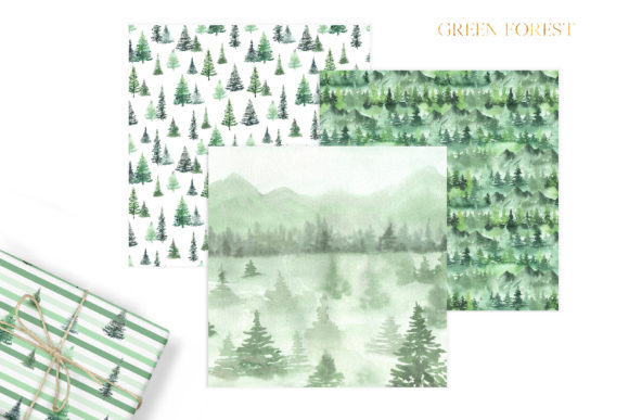 Watercolor Green Fores Digital Papers Graphic Preview