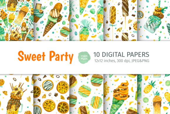 Print on Demand: Watercolor Seamless Patterns with Sweets Graphic Patterns By ValinMalin
