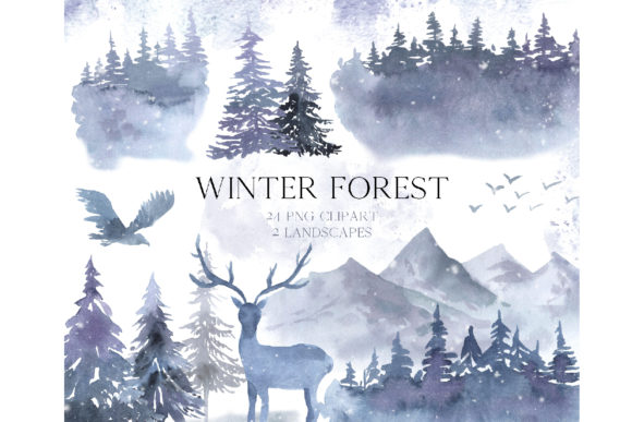 Watercolor Winter Forest Clipart Set Graphic