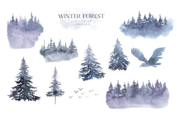 Watercolor Winter Forest Clipart Set Graphic Download