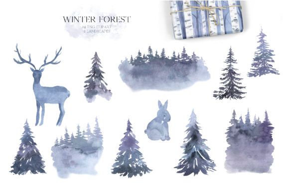 Watercolor Winter Forest Clipart Set Graphic Item